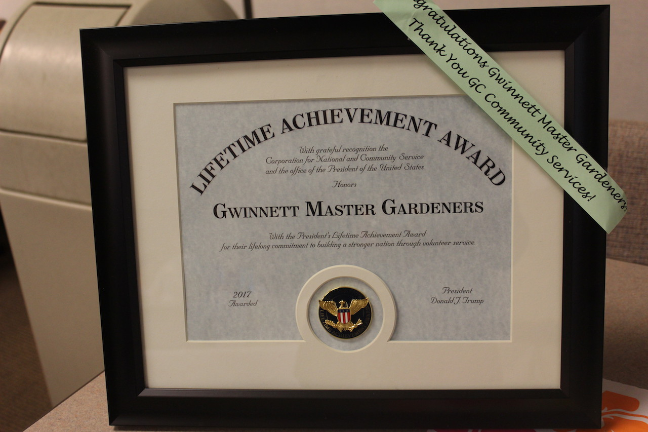 Gwinnett County Master Gardeners receive the President of the United States' Lifetime Achievement Award