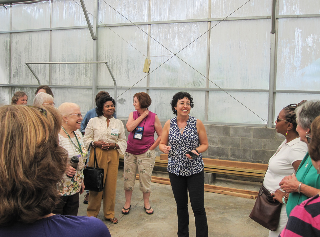 Master Gardener Extension Volunteers and Bodie Pennisi visit the green houses at Gwinnett Technical College